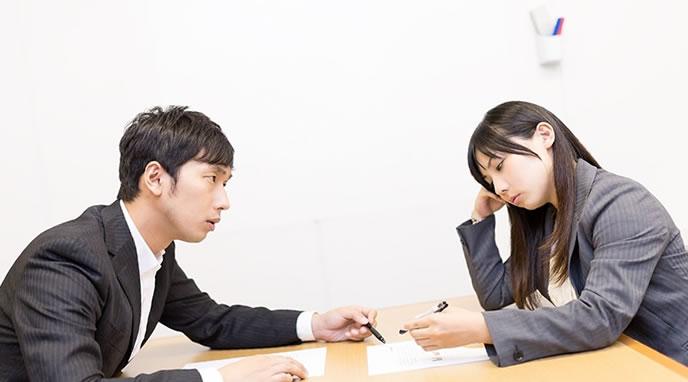 仕事を整理する会議中