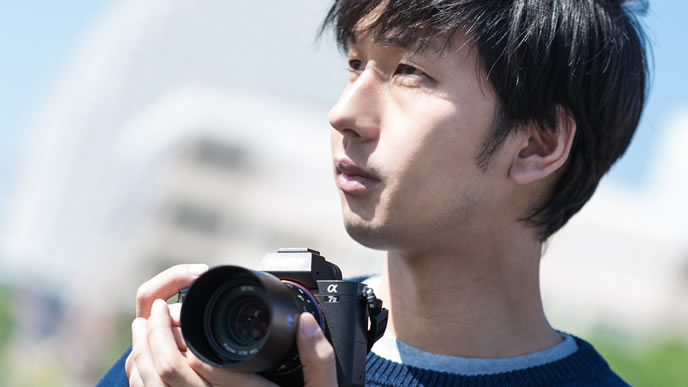 風景を撮りに来たプロカメラマン