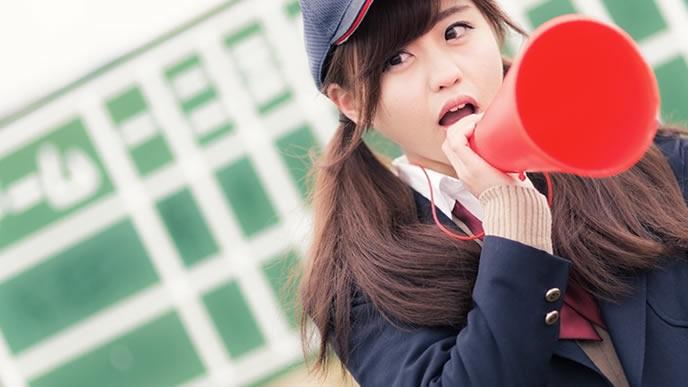 スポーツ観戦に精をだす女性