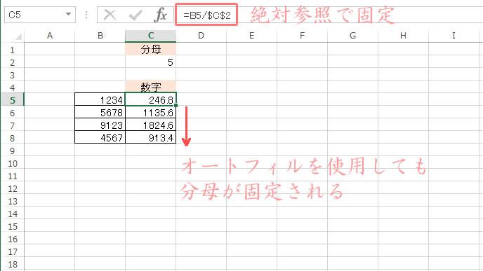 絶対参照でセルを固定して割り算する方法