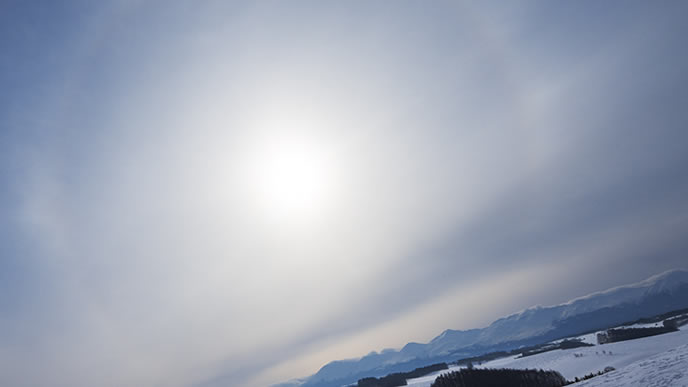 冬の寒い時期に見られた日輪