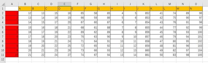 エクセルの列を指定した分割表示の仕方2