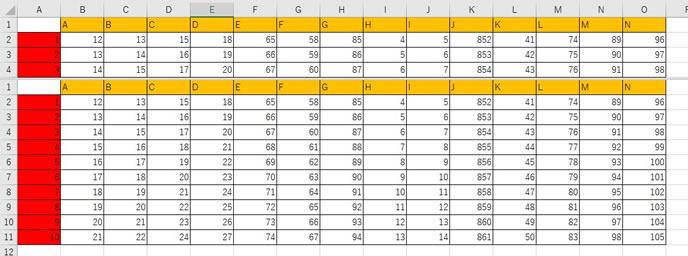 エクセルの列を指定した分割表示の仕方3