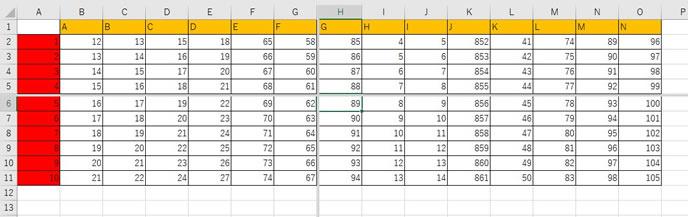 エクセルの分割表示の仕方2