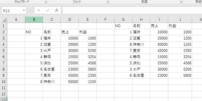 SMALL関数とLARGE関数を使った並び替えの表示結果