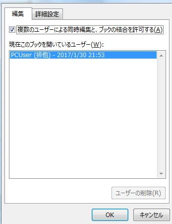 エクセルファイルの共有設定の方法2