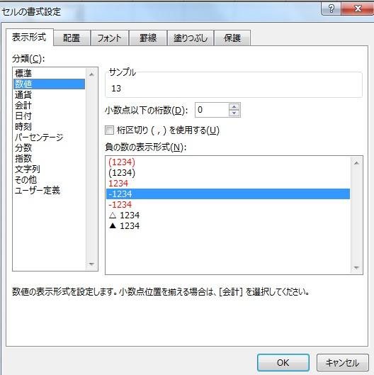 エクセルの書式設定の方法