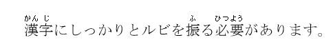 漢字にルビが振られた表示