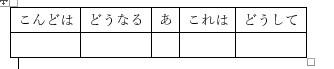 ずれた表示のワードで作成した表