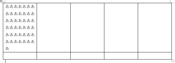 列が固定されたエクセルの表