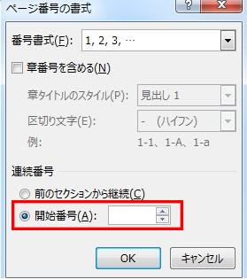 ページに任意の番号を振る設定