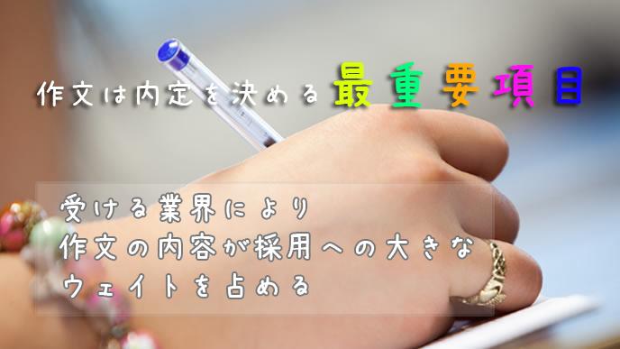 作文試験の練習をする大学生