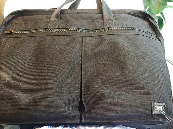 ポーターの黒いビジネスバッグ