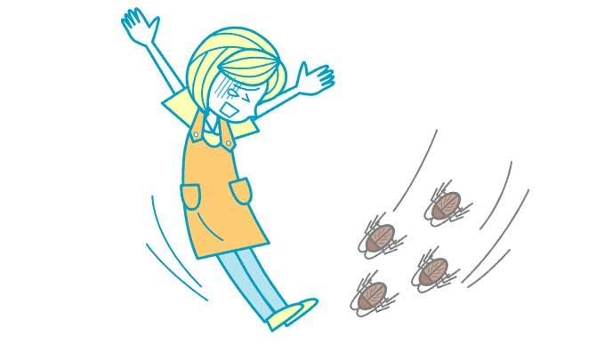 ゴキブリに驚いてる女性のイラスト