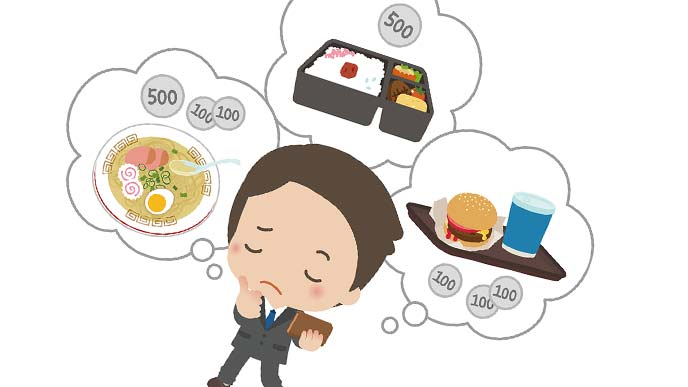 昼食の選択に迷うサラリーマン