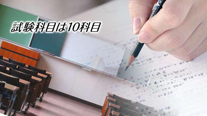 試験会場と鉛筆を持つ手