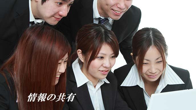学生達がパソコンの画面を見つめている