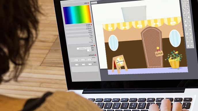パソコンでイラストを制作する生徒