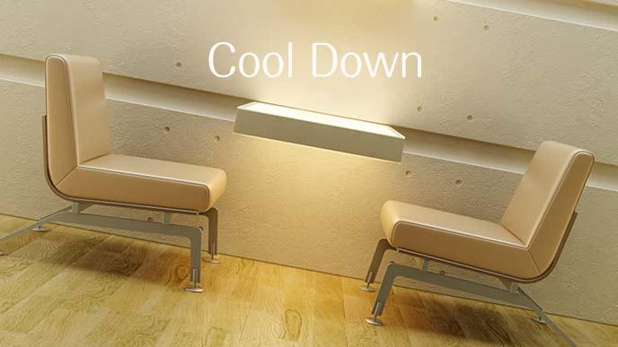 冷房の効いた喫茶店の座席