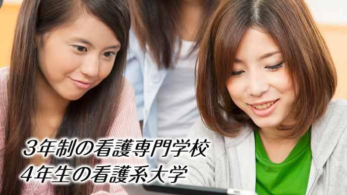 看護専門学校で勉強する女学生