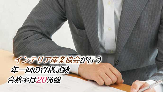 試験用紙に書き込む男性