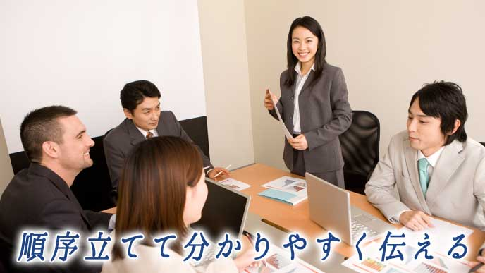 会議室でプレゼンテーションをしているビジネスマン達