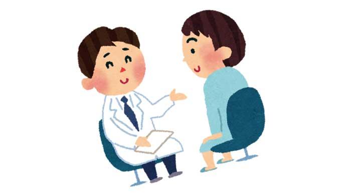 保健師から健康診断を受ける男性のイラスト