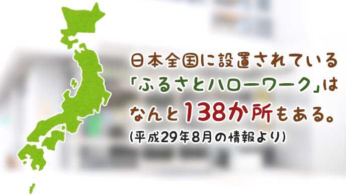 日本列島のイラストと日本全国の「ふるさとハローワーク」の設置数