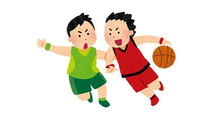 バスケットの試合で勝負している男の子のイラスト