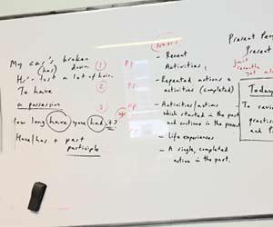 英語の授業で使われた黒板