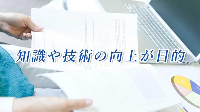 オフィスで研修報告書を読んでいる会社員の女性