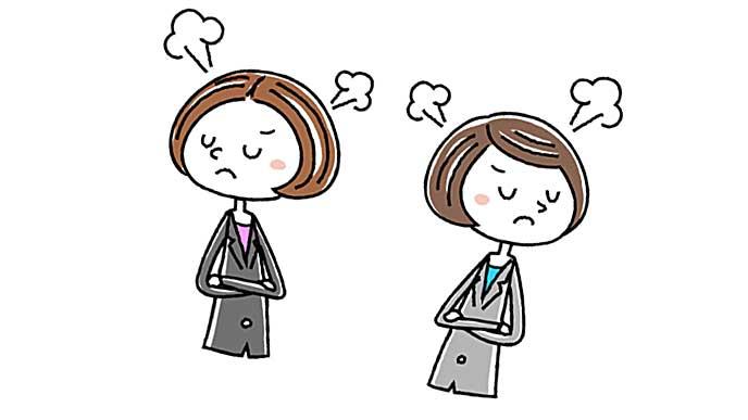 職場の人と喧嘩をしている女性のイラスト