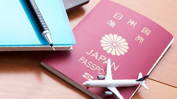 パスポートと飛行機のミニチュア