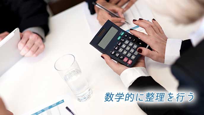 電卓を使って計算をしているビジネスマン