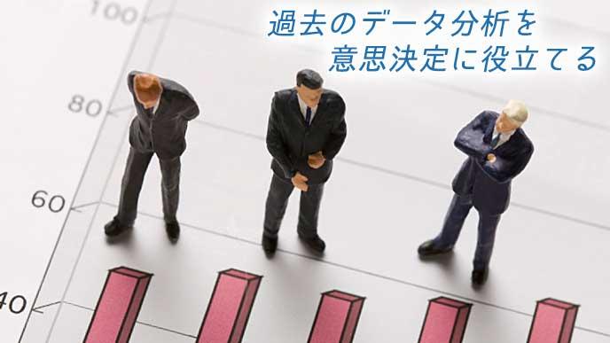 統計グラフを見て考えているビジネスマンの人形