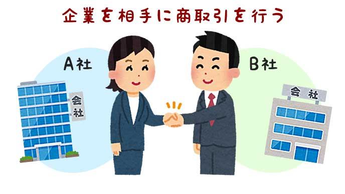 他企業のビジネスマンと商取引の握手をしているイラスト