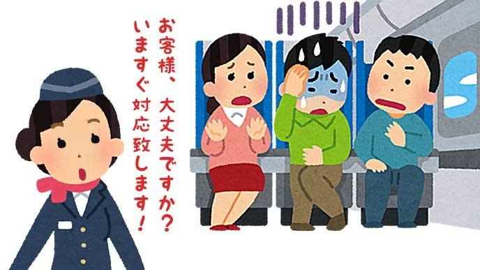 機内で体調を悪くした乗客の対応をする客室乗務員のイラスト