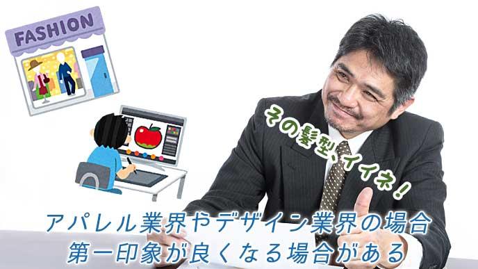 洋服屋とパソコンでリンゴの絵を描いている男性のイラストと笑顔の面接官