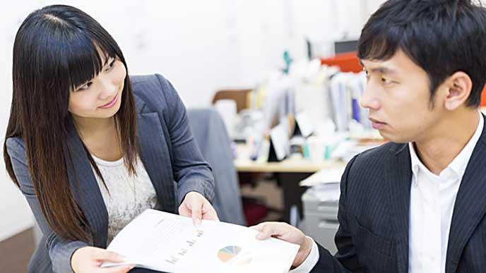 上司に書類を提出する女性社員