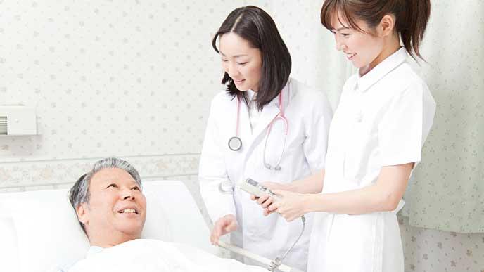 入院中の男性と回診している看護師達