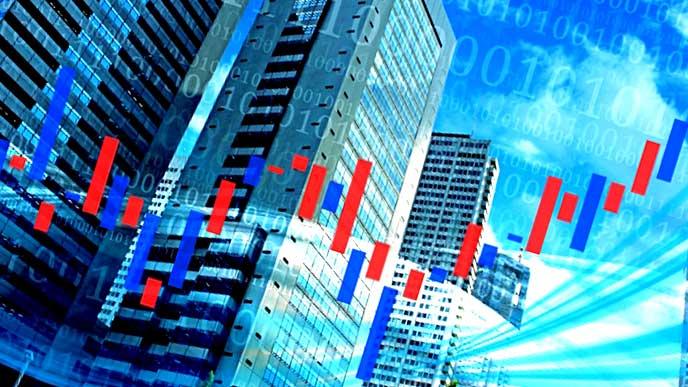 株のグラフと企業ビル
