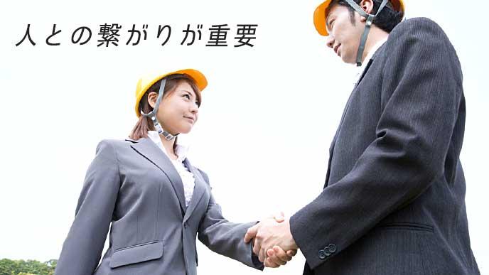 工事用ヘルメットを付けて握手している営業マン達