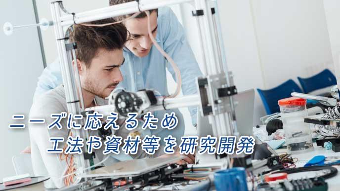 機械を使って研究しているエンジニア達