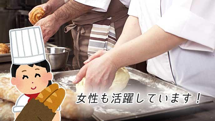 女性パン職人のイラストと厨房の風景