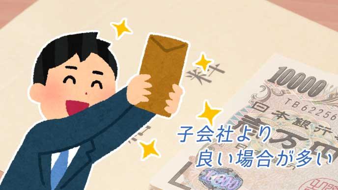 お金と給料袋を持って嬉しそうなサラリーマンのイラスト
