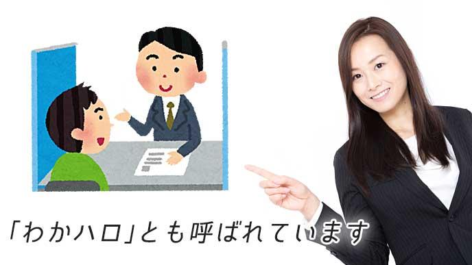 ハローワークで相談を受けている男性のイラストと指をさしている会社員の女性