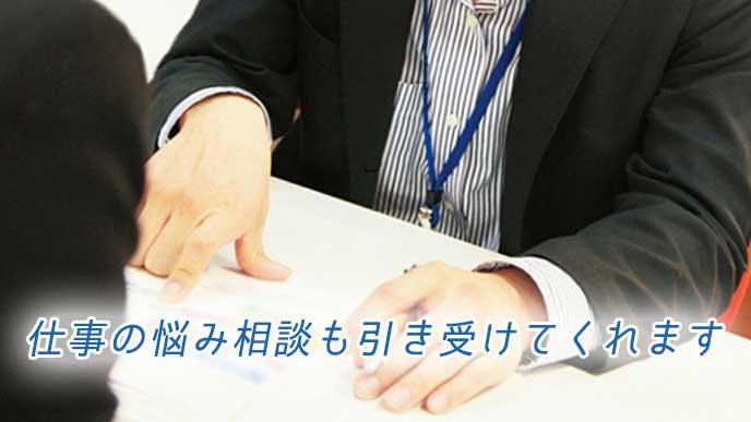 書類を指さしながらサラリーマンにアドバイスをしている男性