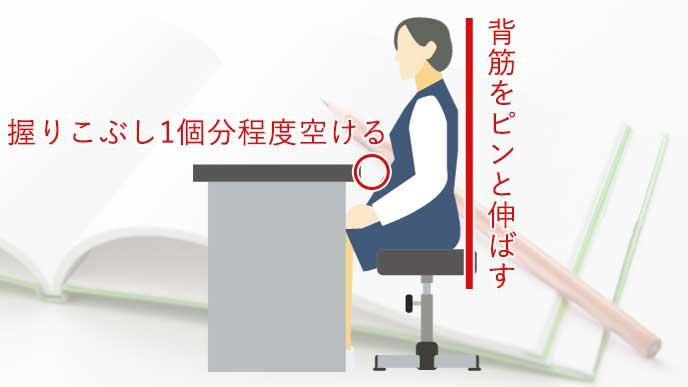 正しい姿勢で机に座っている女性のイラスト