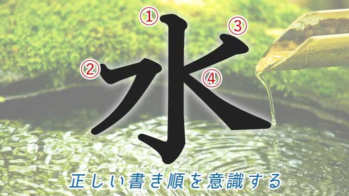 「水」の漢字と波紋