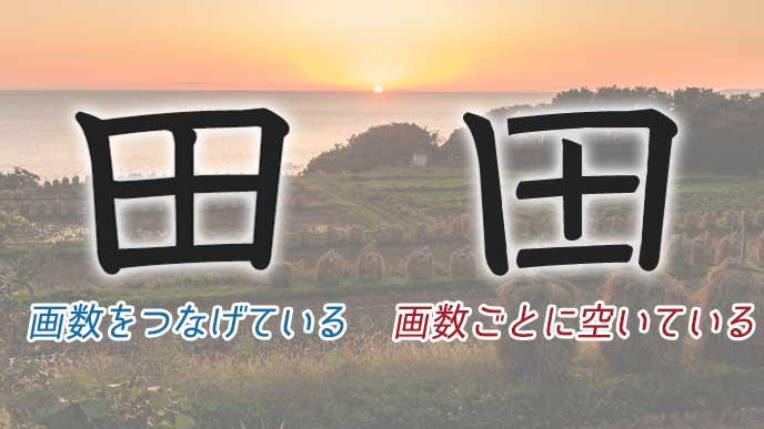 「田」の漢字と田園風景
